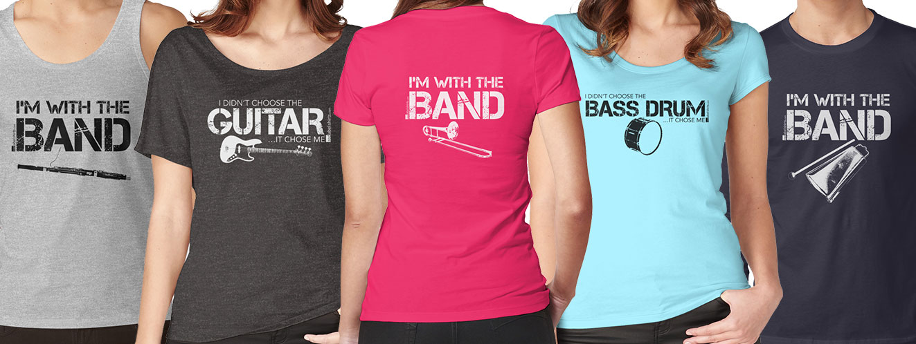 Marching band instrument stickers t shirts and more for High school band shirts